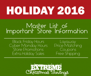 2016 Store Opening Times Black Friday