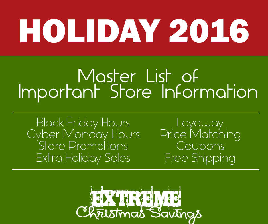 Master Post of 2016 Holiday Sale Information | Black Friday Hours, Promotions, Special Sales, and MORE!