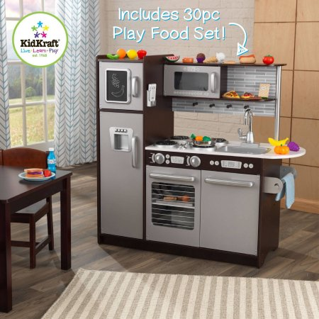 Kidkraft uptown espresso wooden play kitchen with 30 pc for Best kitchen set for 4 year old