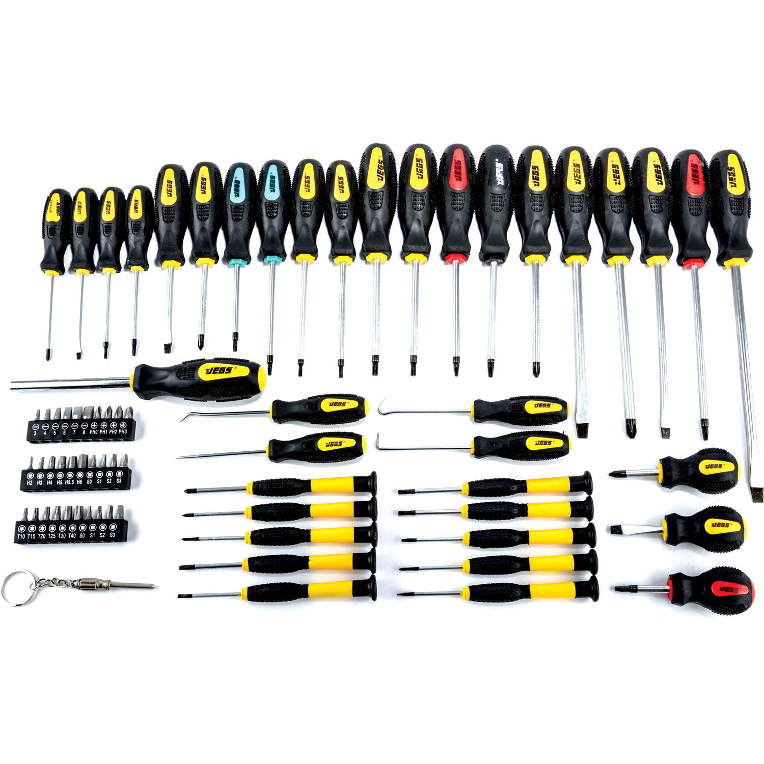 jegs 69 pc magnetic screwdriver set awls torx square phillips slotted bits 80755 was 27. Black Bedroom Furniture Sets. Home Design Ideas