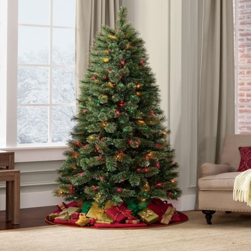 7ft Black Pre Lit Christmas Tree: Christmas Tree And Stand 7Ft Pre-Lit Madison Pine With 350