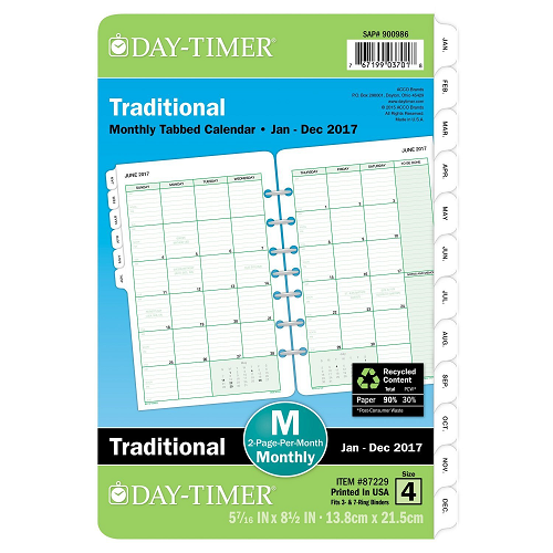 Day-Timer Monthly Planner Refill 2017, Two Page Per Month, Loose Leaf, 5-1/2 x 8-1/2″, Desk Size $3.38 (was $10.19)