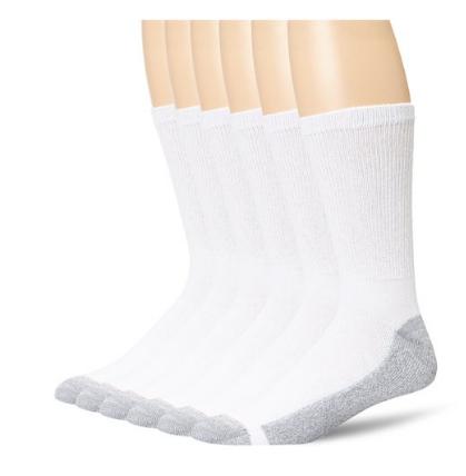 Hanes Men's 6-Pack FreshIQ Cushion Crew Socks $5.96 (was $10.62)
