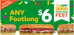 Subway $6 Footlongs