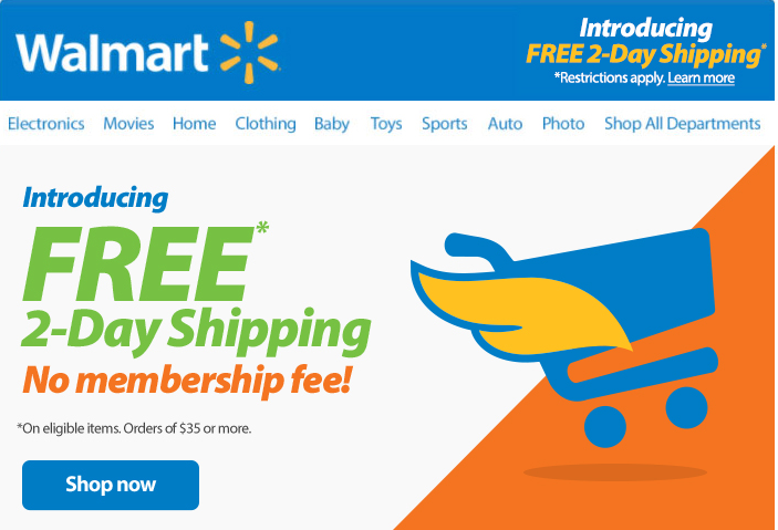 Say Goodbye to Walmart's Shipping Pass and HELLO to Free 2-Day Shipping on $35 orders!