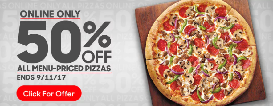 50% off of All Pizzas at Pizza Hut!