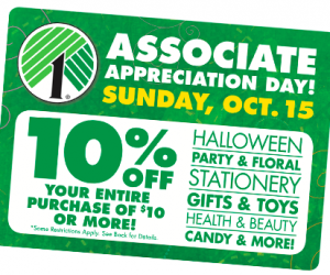 Dollar Tree: Save 10% on Your Purchase | October 15th