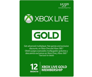 $49.99 (was $59.99) 12-Month Xbox Live Gold Membership