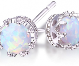 $5.99 (was $20) 2.00 CTW Genuine Opal Crown Stud Earrings