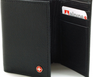 $8.99 (was $45) Alpine Swiss Mens Trifold Wallet Genuine Leather Card Case ID Window Billfold