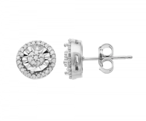 $31.49 (was $185) Sterling Silver 1/4 Carat T.W. Diamond Cluster Stud Earrings