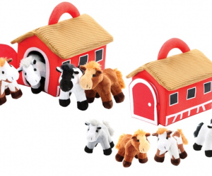 $12.99 (was $49.99) Plush Talking Horses and Barn Set (5-Piece)