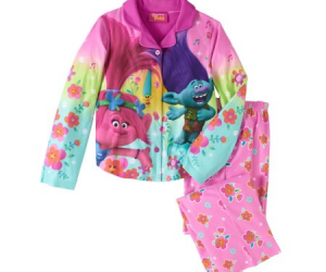 $4 (was $12.88) Trolls Girls' Button Down Top and Bottom Pajama 2-Piece Set