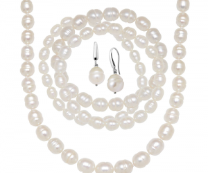 $19.99 (was $179) White Freshwater Pearl Earring Bracelets & Necklace Set in Sterling Silver