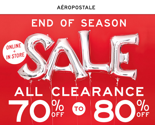 Jul 23,  · Does anyone know when the Aeropostale 50% top sale end? There is a sale right now at Aeropostale, and Im wondering will it stay before August 21 or sometime in August?! Im going school shopping a week or two before school sell-lxhgfc.ml: Resolved.