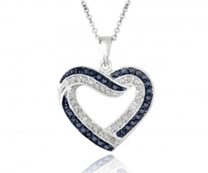 $24.99 (was $150) 0.50ct TDW Black or Blue or White Diamond Open Heart Necklace