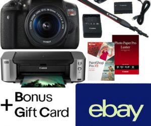 $799.99 (was $1,497.99) Canon EOS Rebel T6i DSLR + 18-55mm + Printer + $350 Rebate + $20 Ebay Gift Card