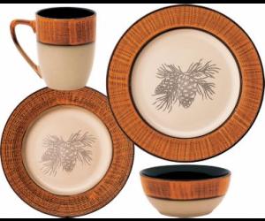 $19.88 (was $79.99) Cabela's 16-Piece Conifer Forest Pinecone Dinnerware Set