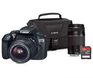 $449 (was $749) Canon EOS Rebel T6 DSLR Camera Lens Bundle with EF-S 18-55mm IS and EF75-300 III Lens