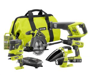 $149 (was $399) Ryobi 18-Volt ONE+ Cordless Lithium-Ion 7-Tool Combo Kit with (2) 1.3 Ah Batteries, Charger and Bag