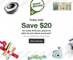 Target Green Monday Sale Save $20 For Every $100 You Spend
