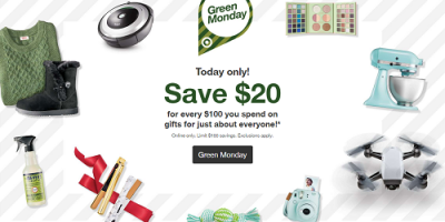 Target Green Monday Sale Save $20 For Ev...