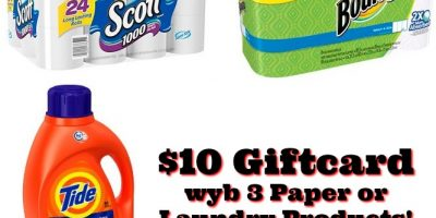 $10 Target Giftcard wyb 3 Paper or Laundry Products