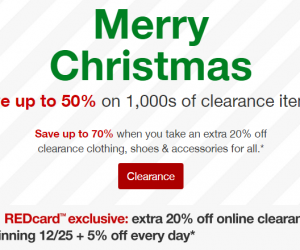 Target Clearance Sale up to 70 Percent Off And Extra 20 Percent Off If You Pay With A Red Card