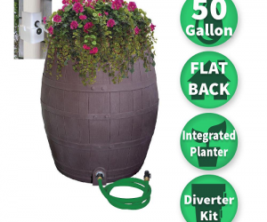 $74.99 (was $108.93) 50 Gal. Solid Brown Flat Back Whiskey Rain Barrel with Integrated Planter