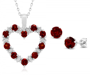 $24.99 (was $74) Diamond and Red Garnet 925 Sterling Silver Heart Pendant Earrings Set 18″ Chain