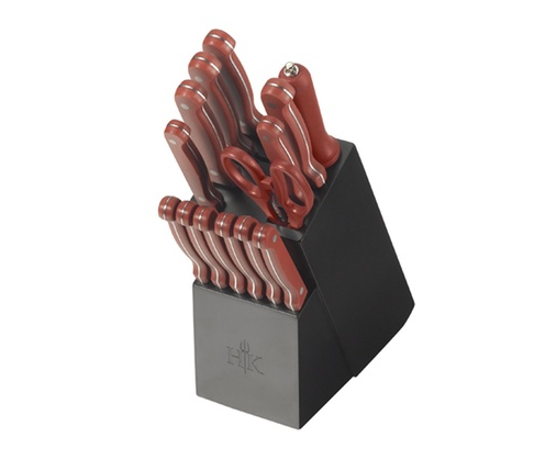 hells kitchen knives 22 99 was 79 99 hell s kitchen knife block set 15 piece extreme christmas savings 6678