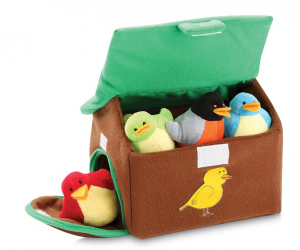 $12.99 (was $18.99) Plush Chirping Birds with Carrier House (Set of 5)