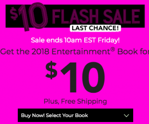Today Only!  Get an Entertainment Book for just $10 SHIPPED!