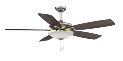 $69.99 (was $99.97) Menage 52 in. Integrated LED Indoor Low Profile Brushed Nickel Ceiling Fan with Light Kit