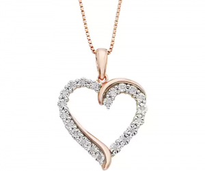 $41.99 (was $200) 1/10 Carat T.W. Diamond 14k Rose Gold Vermeil Heart Pendant Necklace