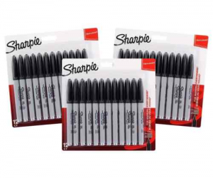 $11.99 (was $56.52) Sharpie Permanent Markers, Fine Point, Black Ink, 36-Count