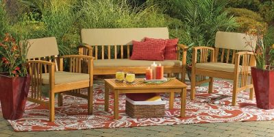$149.99 (was $249.99) 4-Piece Westerly Acacia Wood Deep Seating Chat Set