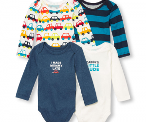 $7.49 (was $29.95) Baby Boys Long Sleeve Traffic Jam Family Graphic Bodysuit 4-Pack