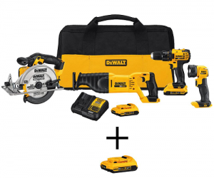 $249 (was $488) DEWALT 20-Volt MAX Lithium-Ion Cordless Combo Kit (Today Only)
