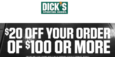 $20 Off $100 Or More At Dick's Sporting Goods