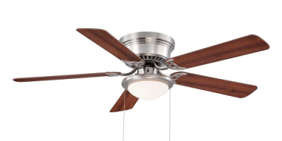 $39.97 (was $49.97) Hugger 52 in. LED Indoor Brushed Nickel Ceiling Fan with Light Kit