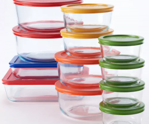 $20.99 (was $59.99) Pyrex 24-pc. Storage Set with Color Lids