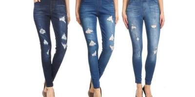 $14.99 (was $39.99) Women's Pull-On Skinny Ripped and Distressed Denim Jeggings