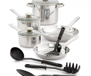 $29.96 (was $119.99) Bella12-Pc. Stainless Steel Cookware Set