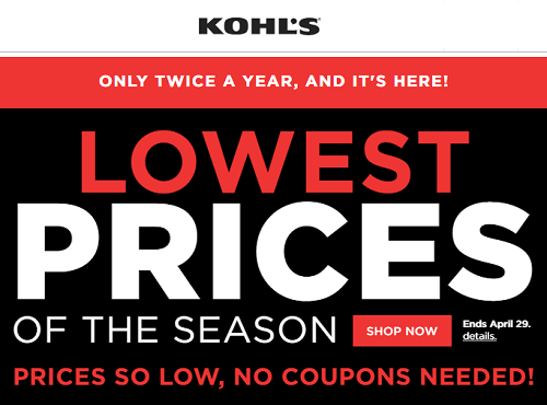 Kohl's Lowest Price Of The Season Sale