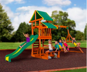 $349 (was $499) Backyard Discovery Tucson Cedar Wooden Swing Set