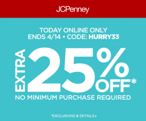Extra 25% Off At JCPenney (Today Only)