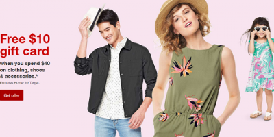 Spend $40 or More On Clothing & Shoes Get $10 Target Gift Card