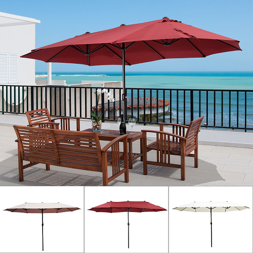 $85.99 (was $144.99) 15′ Double-Sided Patio Umbrella