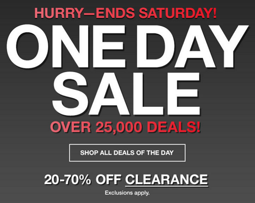 One Day Only Sale Up To 70% Off